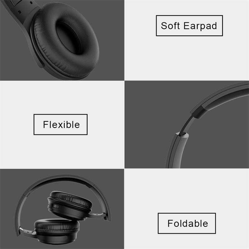 ITINIT E18 Bluetooth Headphones HIFI Stereo Wireless Earphone Gaming Headsets Over-ear Noise Canceling with Mic Support TF Card enlarge