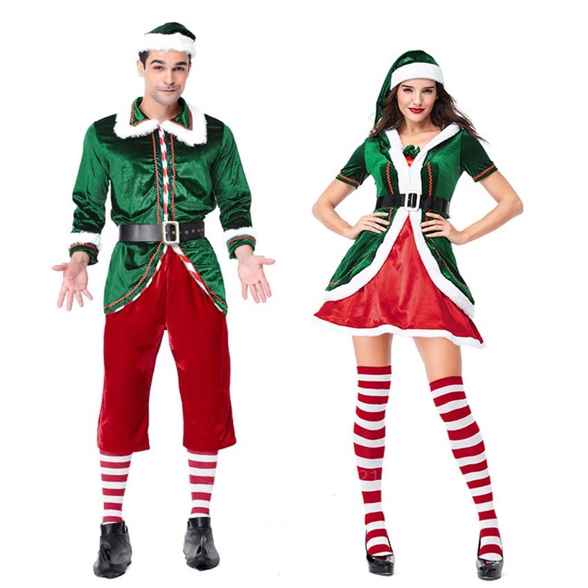 Santa Claus Women Hooded Velvet Cap+Dress+belt Set Sexy Role-play Christmas Xmas Elf Fancy Cosplay Costumes Halloween Party Wear