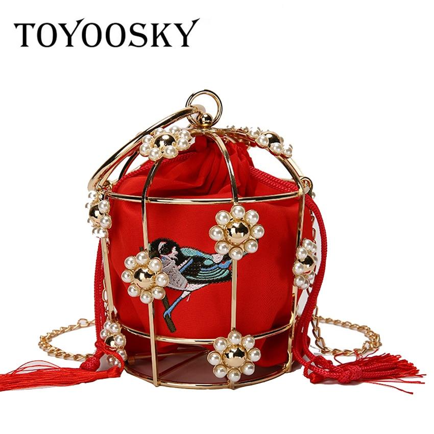 Bolso de noche TOYOOSKY para mujer, bolso de mano con marco de Metal, cubo bordado, Mini bolso de perlas, bolso de mujer, bolso con borla de oro