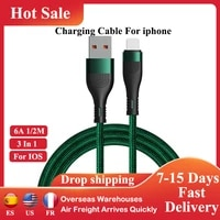 3 in 1 usb cable for iphone 11 12 pro xs max 8 plus ios quick charger data cord fast charging wire line mobile phone accessories