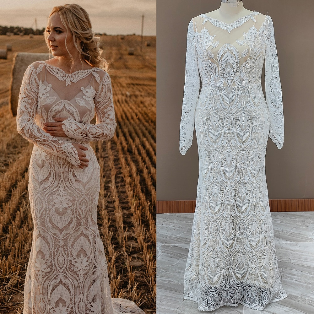 Review Long Sleeves Lace Country Wedding Dress Backless Vintage Beach Barn Ranch Plus Size Custom Made 2021 Mermaid Rustic Bride Gown