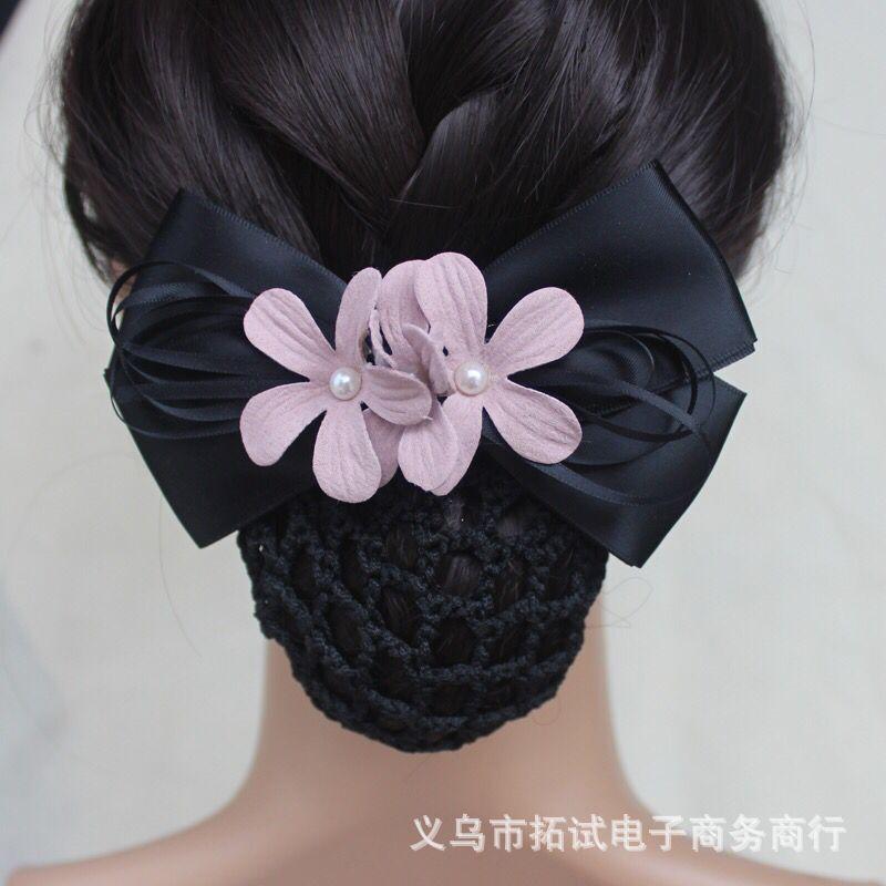 Professional hair accessories nurse bank hotel stewardess work bow hair net bag diamond professional head flower handmade gift