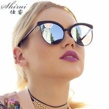 2019 Sunglasses Women Brand Designer Fashion Coating Mirror Sexy Cat Eye Sun Glasses For Female UV40