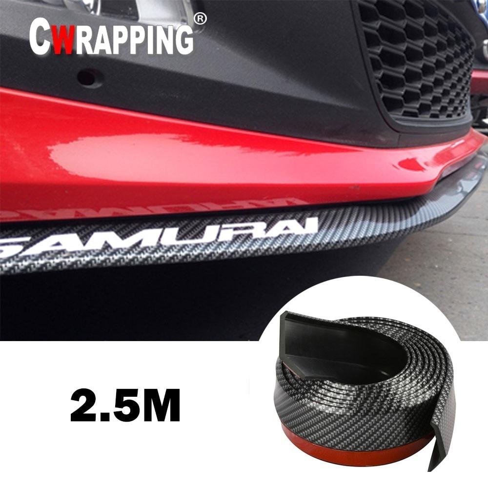 Car Universal Front Bumper Lip  Carbon Fiber Rubber Splitter Chin Spoiler side Skirt Rubber Anti Scratch Protector Body Kit Trim