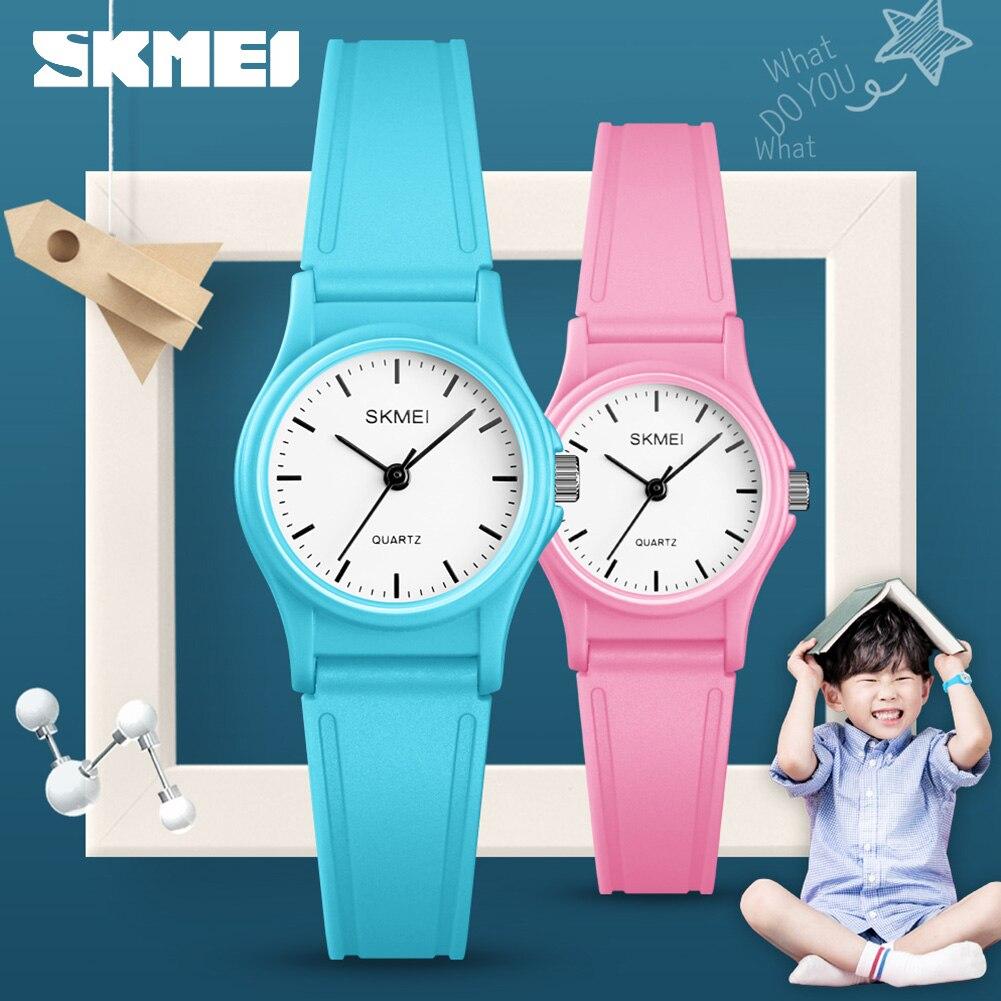 SKMEI NEW Style Kids Watches Casual Plastic Case Boys Girls Children Watch Outdoor Sports Waterproof PU Starp Quartz Wristwatch