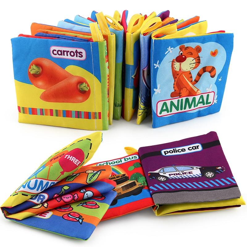 Libros de tela suave sonido de crujido libros silenciosos para bebé infantil número con diseño de Animal cochecito sonajero juguetes para bebé recién nacido 0-12 meses