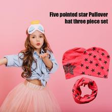 3pcs Set Baby Hat Autumn Winter Cap Star Print Beanie Warm Beanie Set Newborn Supply Flexible Fabric Safe and Comfortable Acces