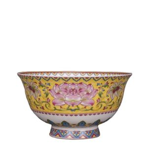 Family decoration collection of antique porcelain Qianlong bowl with lotus pattern