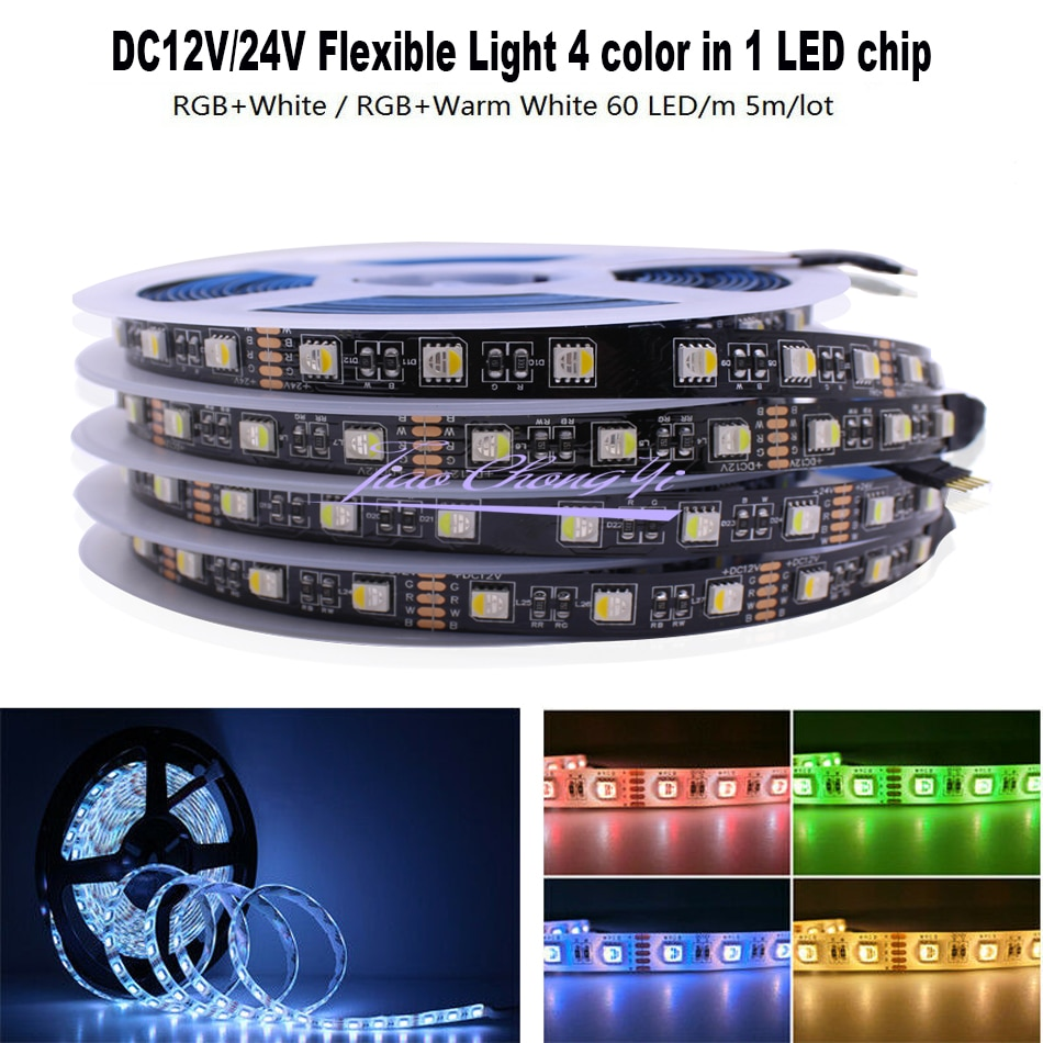 Bande de LED de 5M RGBW, 4 couleurs dans 1 puce led, lumière flexible de SMD 5050 DC12V 24V rvb + blanc/blanc chaud, carte PCB noire de 60Led s/m