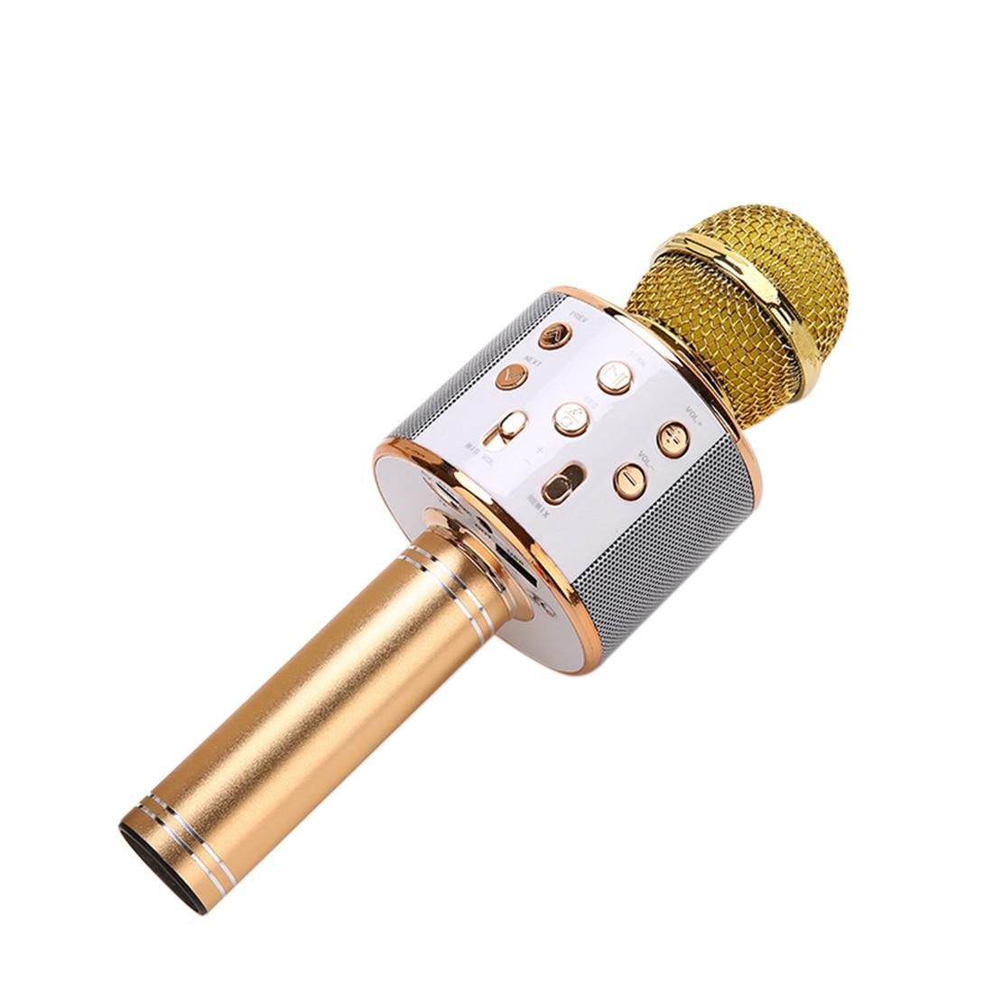 Micrófono inalámbrico de Karaoke KTV Altavoz Bluetooth portátil micrófono de canto altavoz de Audio-dorado