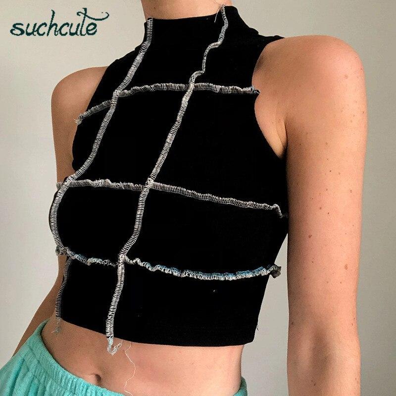 SUCHCUTE ruch ruffles mujer camiseta verano 2020 E girl cami streetwear sin mangas tops gótico básica camiseta vintage temas Mujer