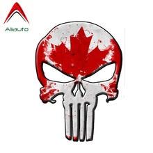 Aliauto Personality Car Sticker Canada Flag Punisher Skull Auto Decor Vinyl Decal for Golf Kia Ceed Seat Ibiza Passat,16cm*12cm