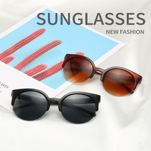 Summer Fashion Cat Eye Sunglasses Women Vintage Semi-Rimless Sun Glasses Round Circle women sunglass