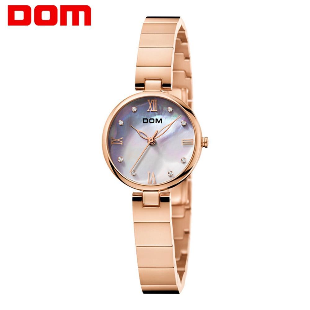 DOM 2019 nuevos relojes de moda para mujer, reloj de Dial elegante, pulsera de lujo de oro rosa para mujer, relojes de pulsera de cuarzo, G-1267G a prueba de agua