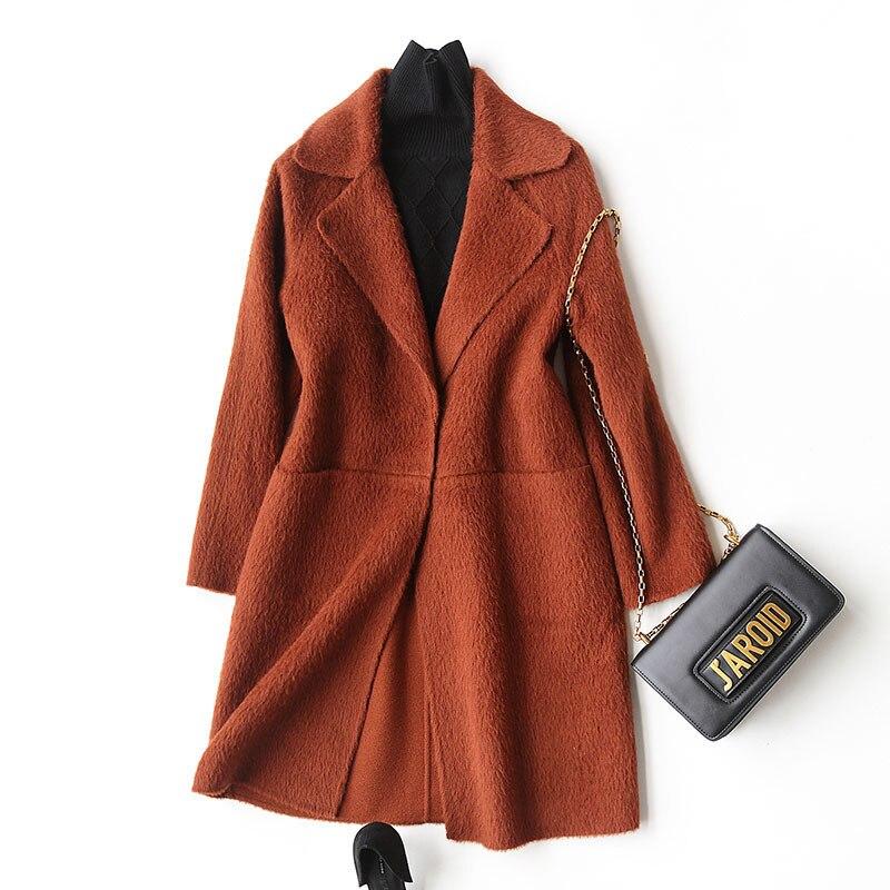 Abrigo de lana 2020 moda Otoño Invierno Cachemira abrigo femenino Turn Down Collar chaquetas sobretodo casaco feminino 37029
