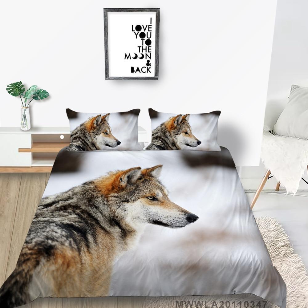 Комплект постельного белья серии «волк» для подростков, Простые, двуспальные, двуспальные, односпальные, двухспальные, удобные
