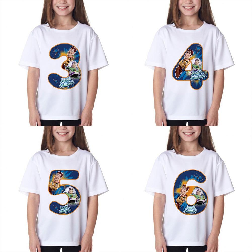 Niños Número de cumpleaños 1 ~ 9 Toy Story Cartoon Print niños Ropa Camisetas niño y niña Buzz Lightyear/Woody gracioso regalo camiseta bebé