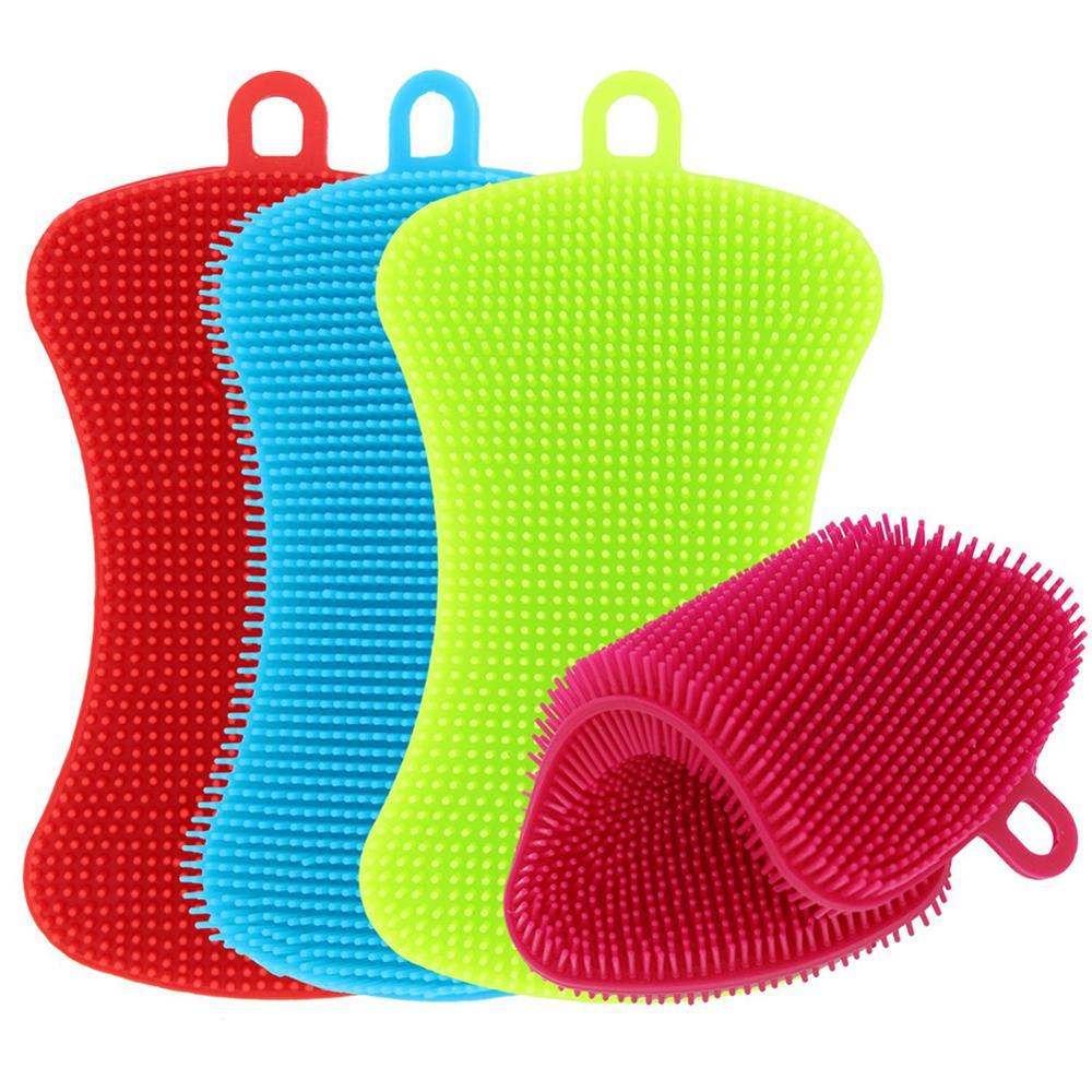 Cepillo de limpieza de cocina 3/4 uds, cepillo de silicona para lavar platos, cacerola, esponja, estropajo, plato para verduras y frutas, cepillos de limpieza