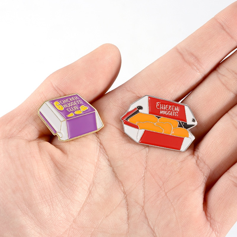 XEDZ Delicious Fast Food Chicken Nuggets Fun Enamel Badge Cartoon Food Shirt Lapel Brooch Jewelry Accessories Give Friends Gifts  - buy with discount