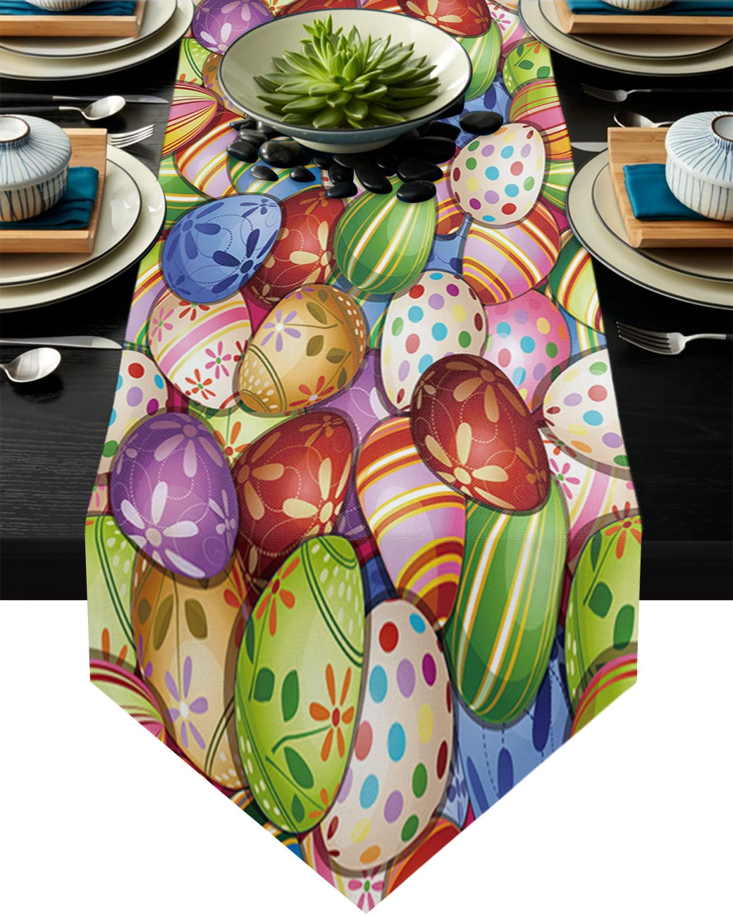 مفرش طاولة بنمط بيض عيد الفصح ، مفرش طاولة ، مفرش طاولة ، زينة زفاف