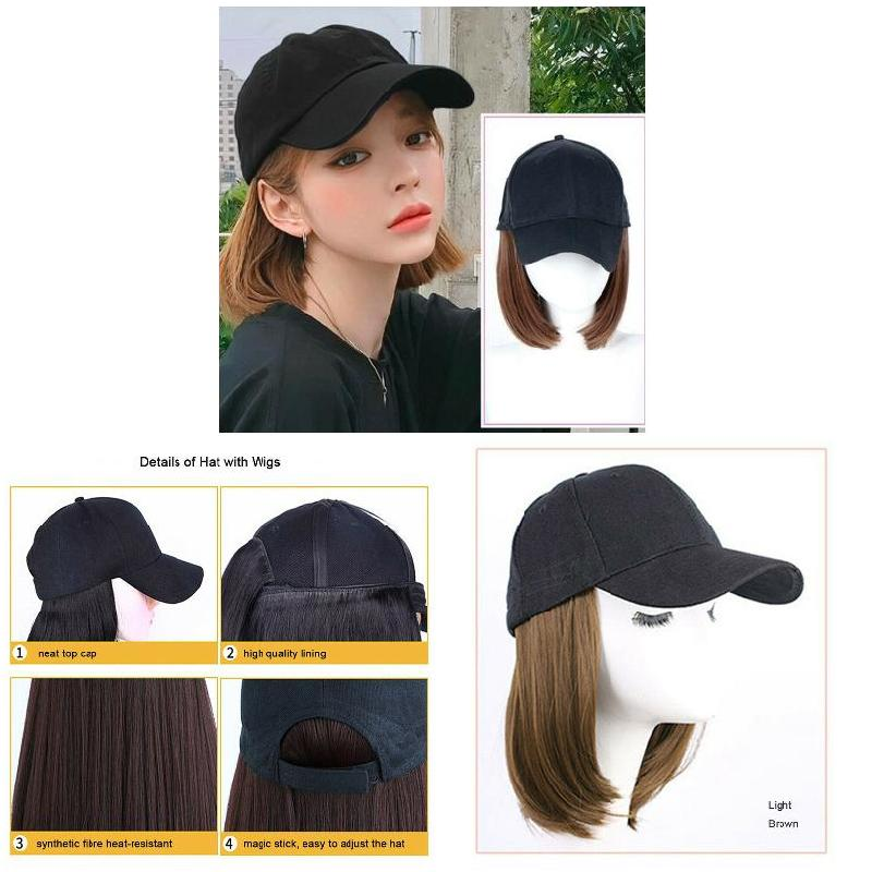 Baseball Hat with Short Hair Wigs Bob Hair Synthetic Hat for Women Summer Best Sale-WT