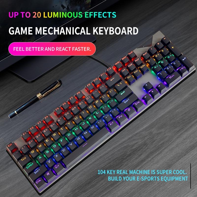 Gaming Mechanical Keyboard USB Wired 104 Keys Anti-Ghosting LED Backlit RGB  For Tablet  Desktop