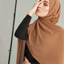 Women Plain Bubble Chiffon Scarf Hijab Wrap Printe Solid Color Shawls Headband Muslim Hijabs Scarves