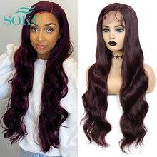 SOKU-Peluca de cabello sintético para mujeres negras, pelo largo ondulado de fibra resistente al calor, 99J color borgoña, Parte L
