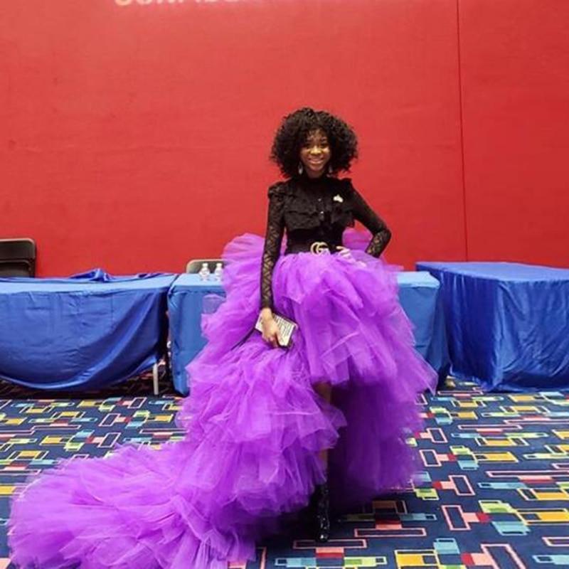 Трендовые фиолетовые эластичные тюлевые юбки с высокой талией для женщин, Многоуровневая Длинная женская официальная юбка-пачка для взрос...