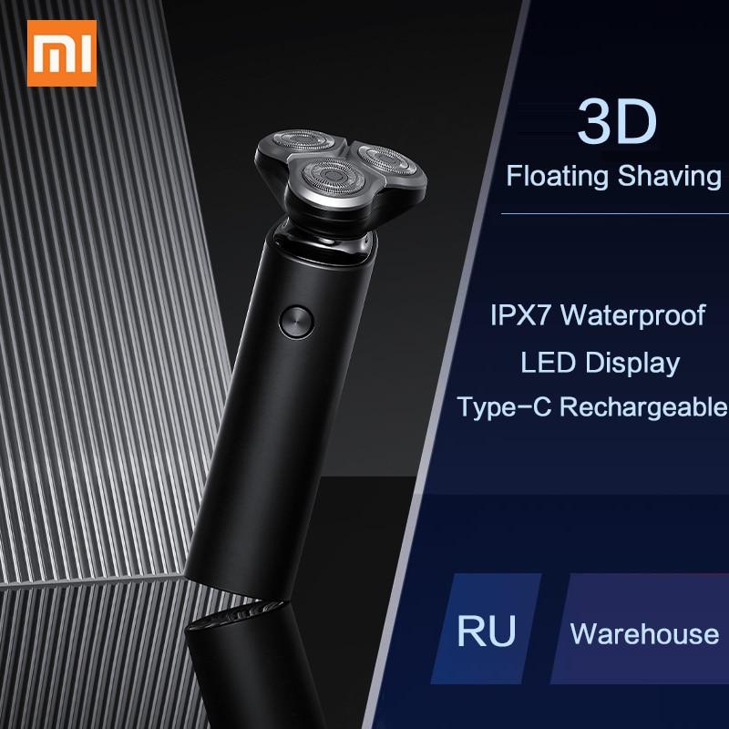 Xiaomi Mijia электробритва для мужчин, перезаряжаемая Гибкая бритва, 3 головки, машина для сухого влажного бритья, триммер для бороды, моющийся, с двойным лезвием