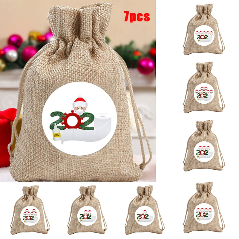 7 PCS Christmas Candy Bags Gift Pouch with Drawstring Decals Festive Holiday Themed Party Supplies L