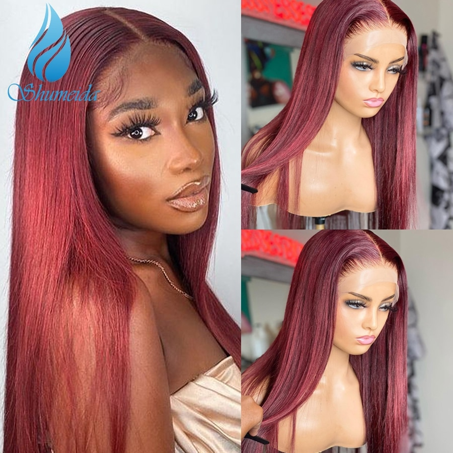Shumeida Red Color 13x4 Lace Front Human Hair Wigs Brazilian Remy Hair Long Straight Glueless 4*4 Wig Baby Hair For Women