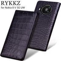 cowhide luxury genuine leather case for nokia 8 v 5g uw 2 v tella magnetic flip cover