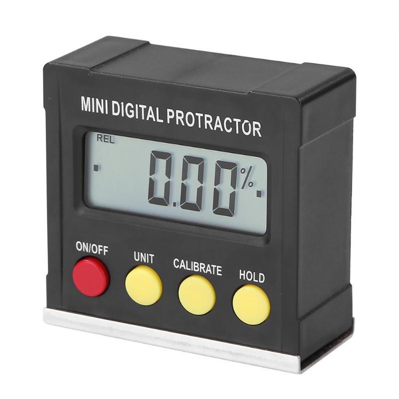 Mini transportador Digital de 360 grados medidor de ángulo Horizontal NIVEL DE inclinómetro caja electrónica herramientas de medición de Base magnética