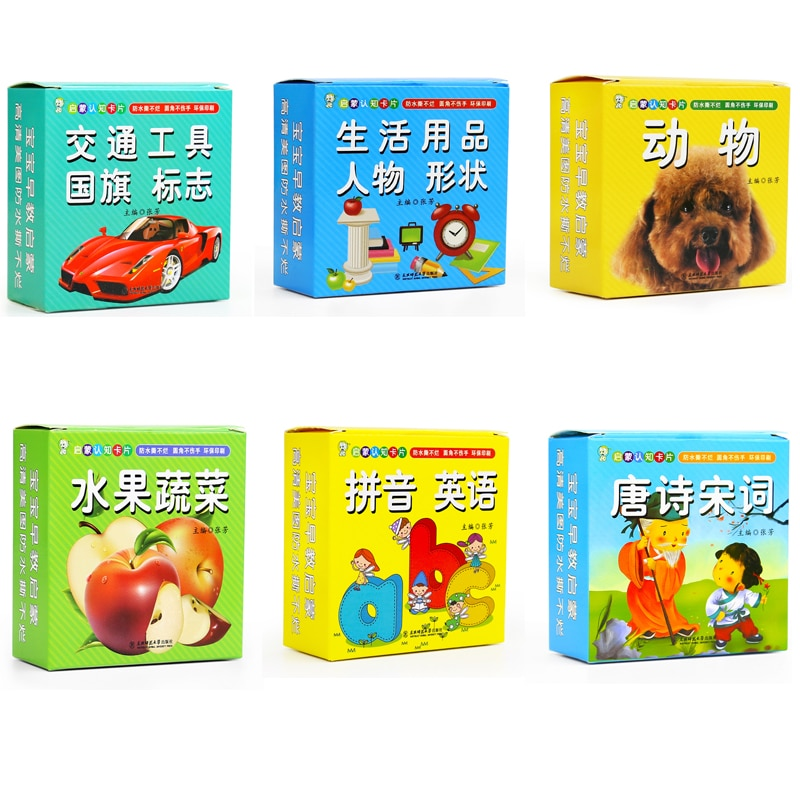6 boxes/set Chinese characters cards for starter learners and children with Chinese Phrase ,hanzi cards and pin yin Animal card children chinese 800 characters book including pin yin english and picture for chinese starter learners chinese book for kids