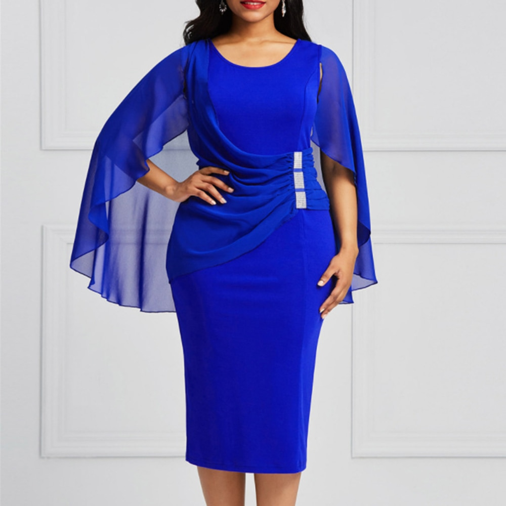 Plus Size Mesh Summer Dress Mother Bride Blue Chiffon Dress 2021 New Elegant Wedding Evening Party D