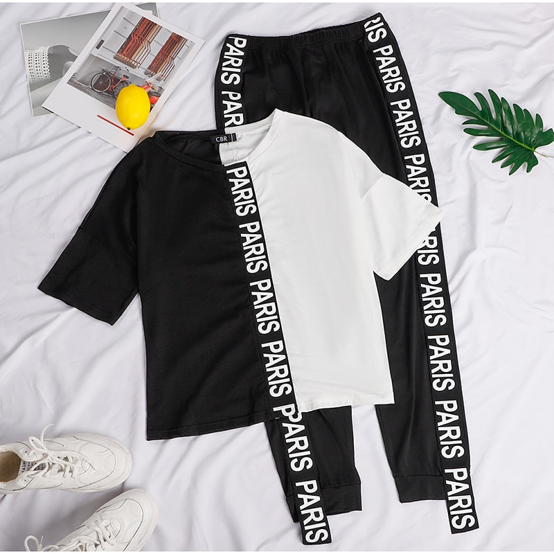 Summer 2 Piece Set Women Black White Tracksuit Sport Jogger Wear Femme Short Sleeve Loose Tops and PantsPatchwork Outfits 2020