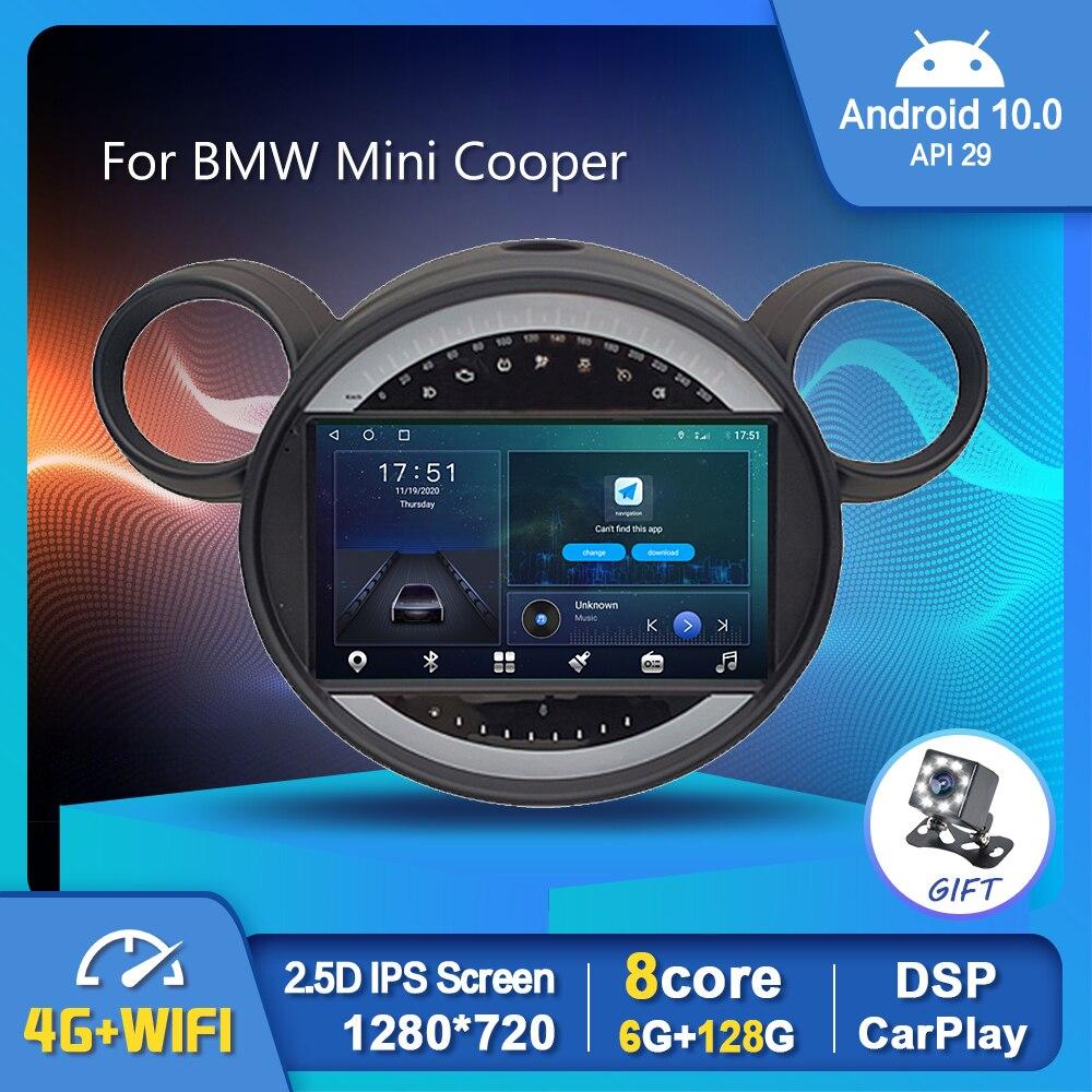 EKIY 6G 128G أندرويد 10.0 الوسائط المتعددة لسيارات BMW Mini كوبر 2006-2013 راديو السيارة Carplay Auto DSP ملاحة جي بي إس رقم 2 din 1280*720P