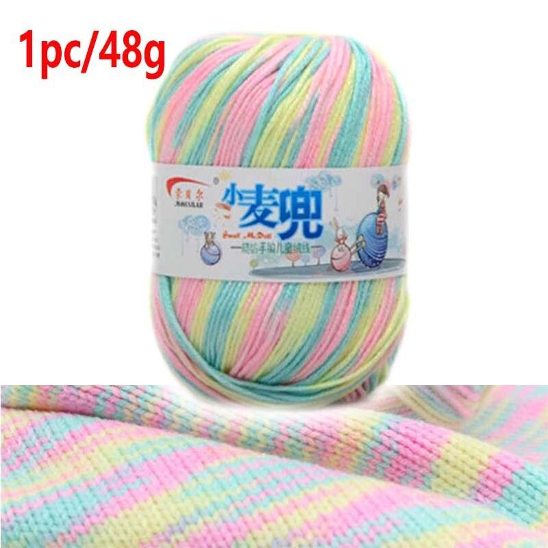 Hilo de tejer mezclado con estambre, anillo de hilo de Melange, 1 unidad, para tejer tinte fino de colores, 48g/pc