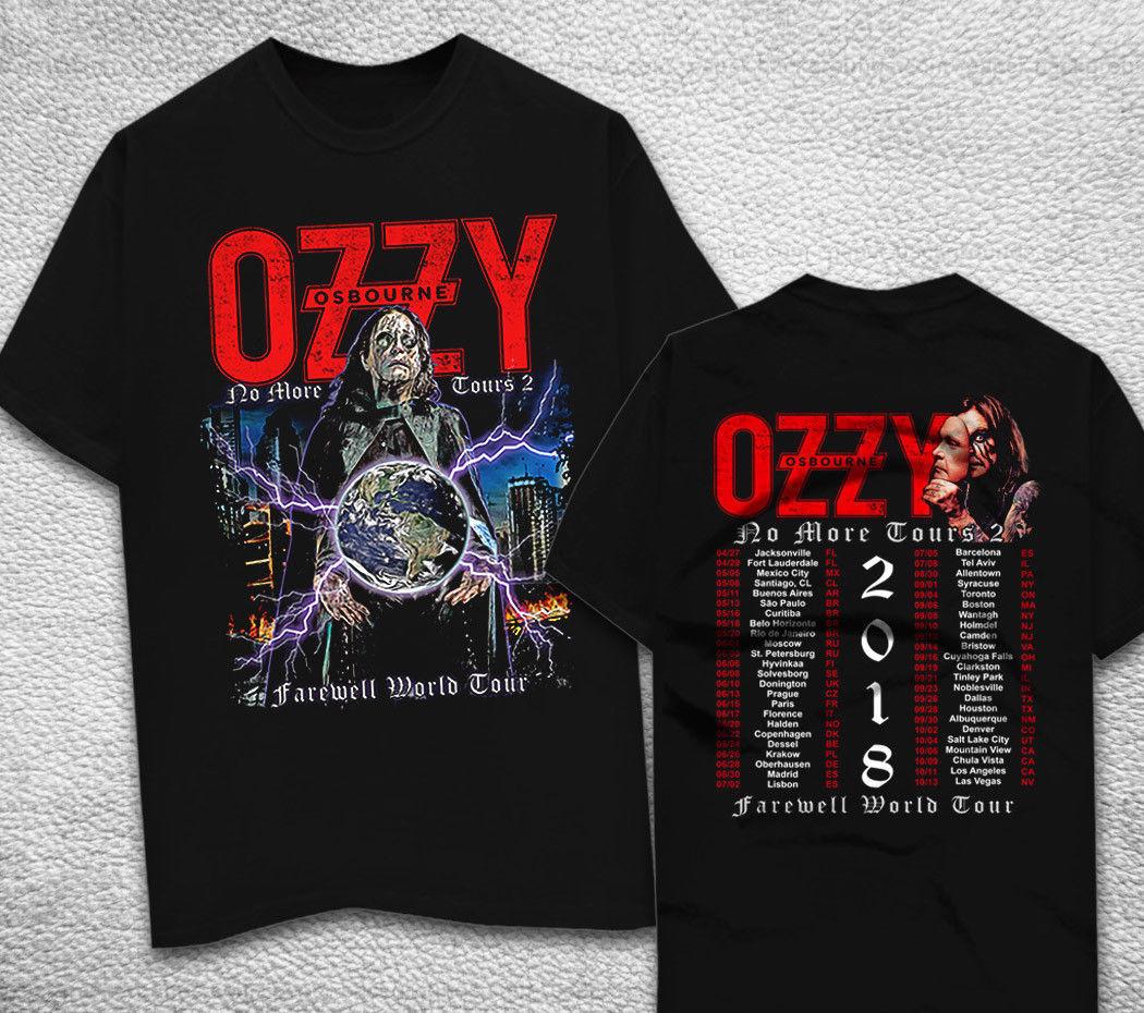 Camiseta Ozzy Osbourne Black Sabbath 2018 No More giras camiseta negra para hombre Camiseta de moda para hombre envío gratis camiseta superior