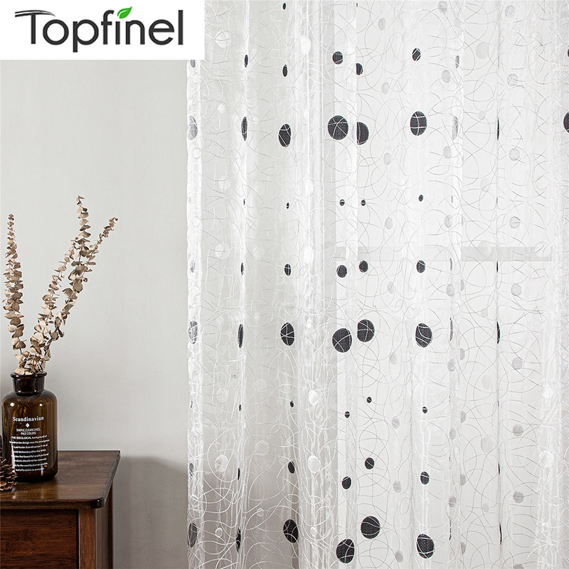 aliexpress.com - Topfinel Bird Nest Sheer Curtains Dots White Sheer Curtain for Kitchen Living Room Bedroom Tulle for Windows Treatment Brown