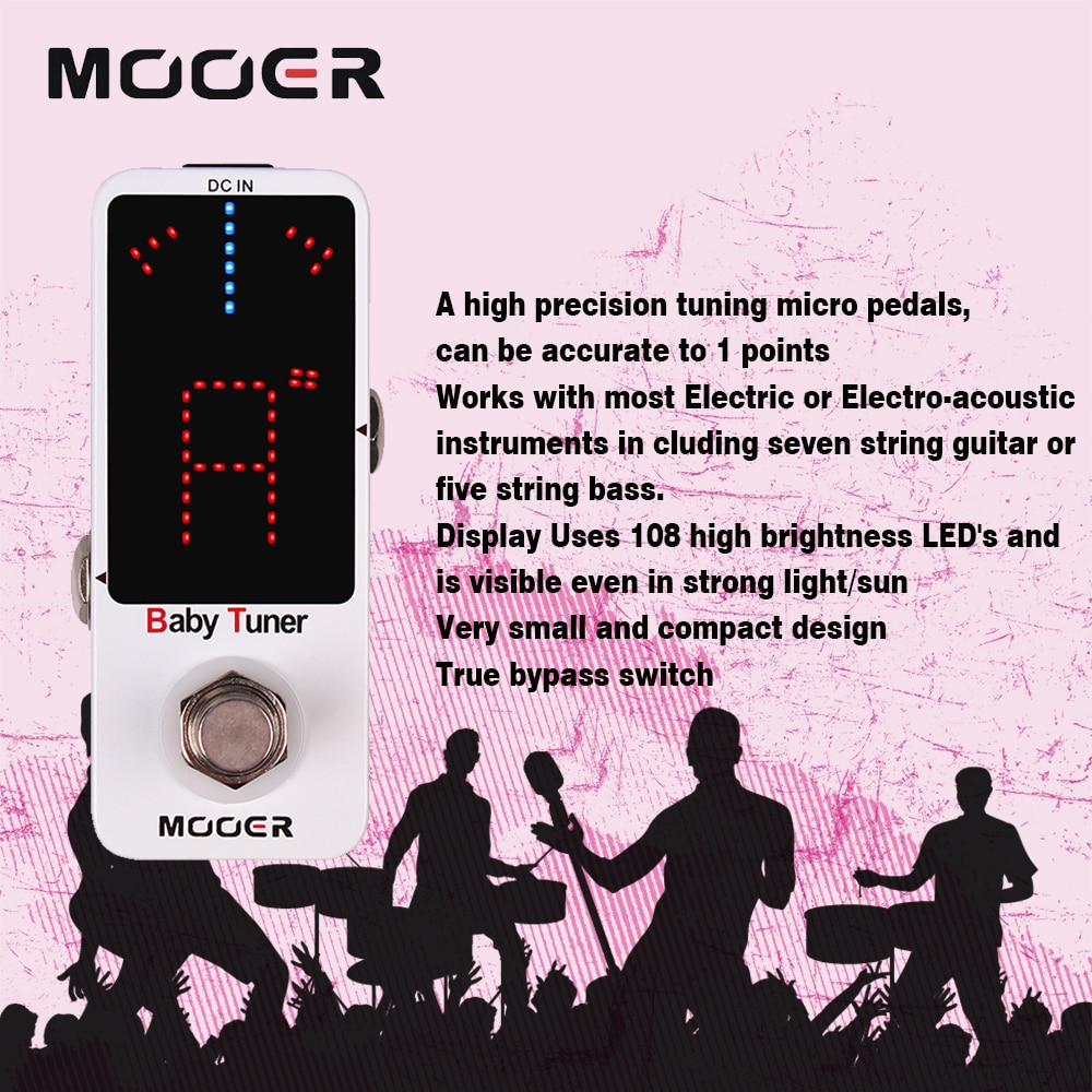 Mooer Mtu1 Baby Guitar Tuner Pedal Musical Instruments Tuner Guitar Effects Pedal True Bypass High Precision Tuning Mtu1 Effect enlarge