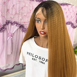 Synthetic Lace Front Wig 1B 27Long Kinky Straight Wig With Baby Hair Heat Resistant Fiber Hair Natural Middle Part Wig For Women