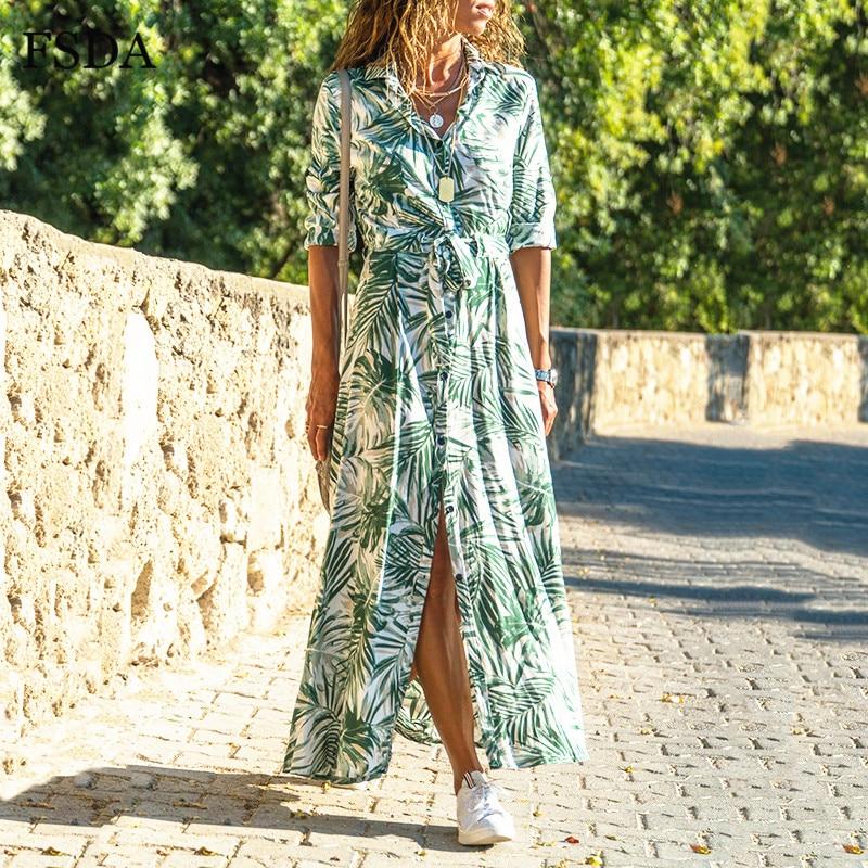 FSDA Chiffon Long Sleeve Floral Print Dress Boho Button Sashes Beach Casual Women Lady 2020 Spring Summer Midi Dresses