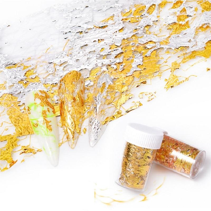 1 caja 3D oro plata espejo pegatina de uñas calcomanías aluminio hojas de papel Red Nail Art Glitter Wraps Slider manicura decoraciones