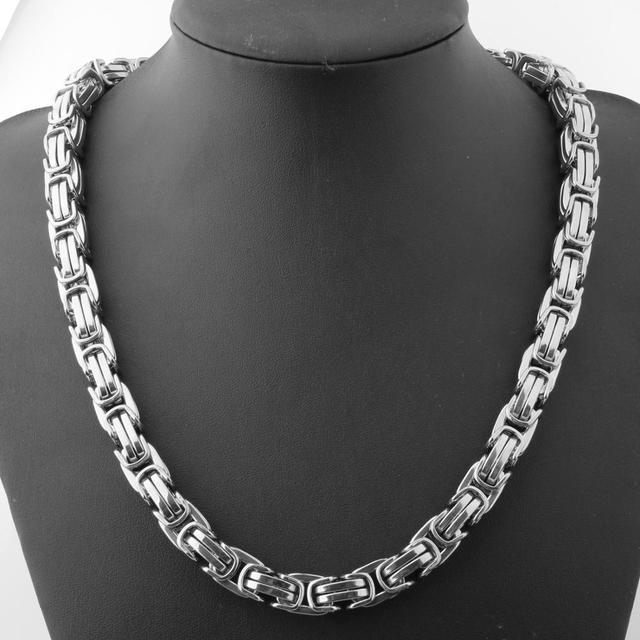 8/12/15MM Wide Fashion Mens Silver Color 316L Stainless Steel Box Chain Byzantine Necklace Wholesale Price