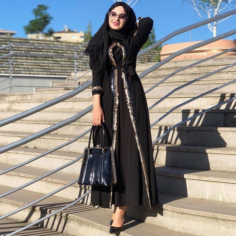 Siskakia ترتر تشذيب كيمونو عباية للنساء 2020 دبي مسلم متواضع عيد مبارك المغربي العربية التركية الملابس الإسلامية الأسود