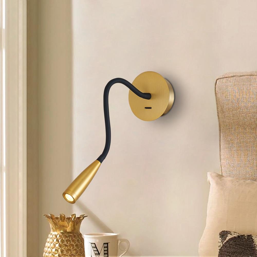 Zerouno مرنة وحدة إضاءة led جداريّة أضواء التبديل ضوء الإضاءة لغرفة السرير ليلة القراءة كري رقاقة 360 درجة بيند داخلي الجدار مصباح