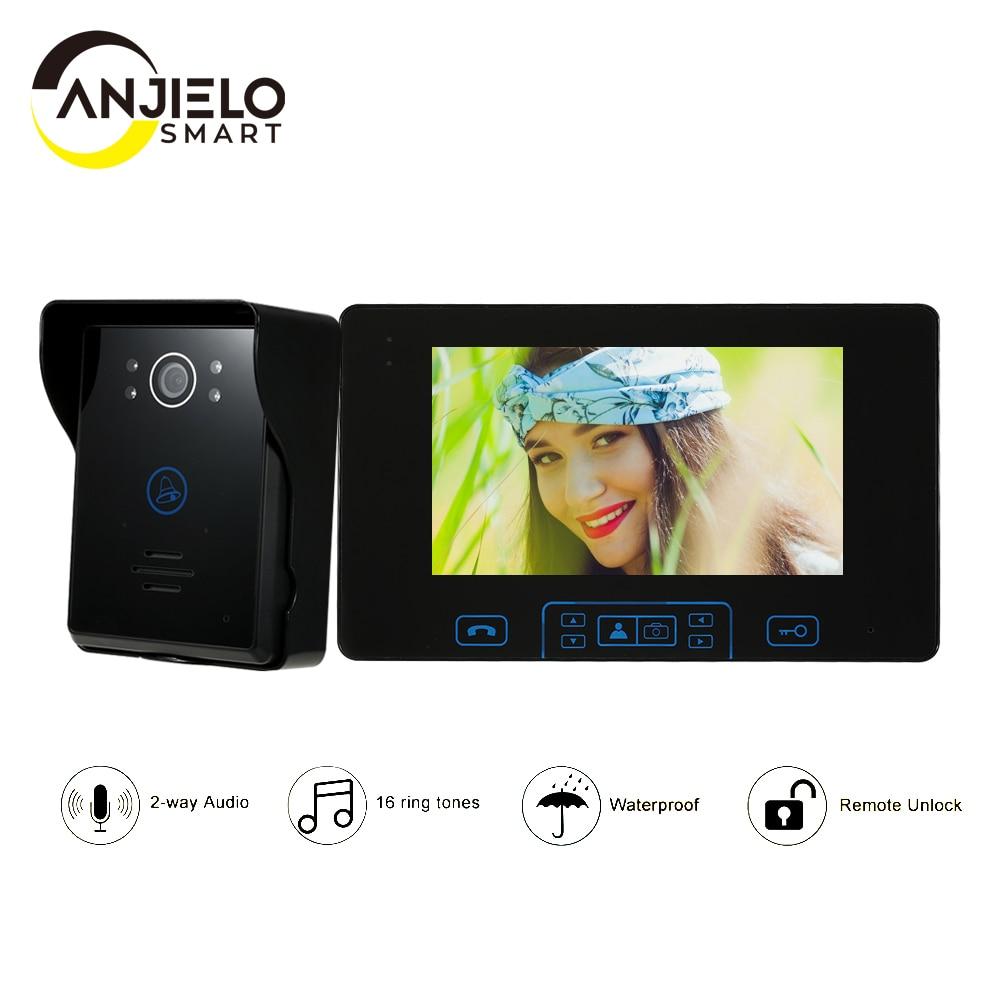 Домашний Беспроводной видеодомофон с сенсорным экраном 7 дюймов, 2,4 ГГц, домофон, система контроля доступа, дверной звонок со встроенным акк...