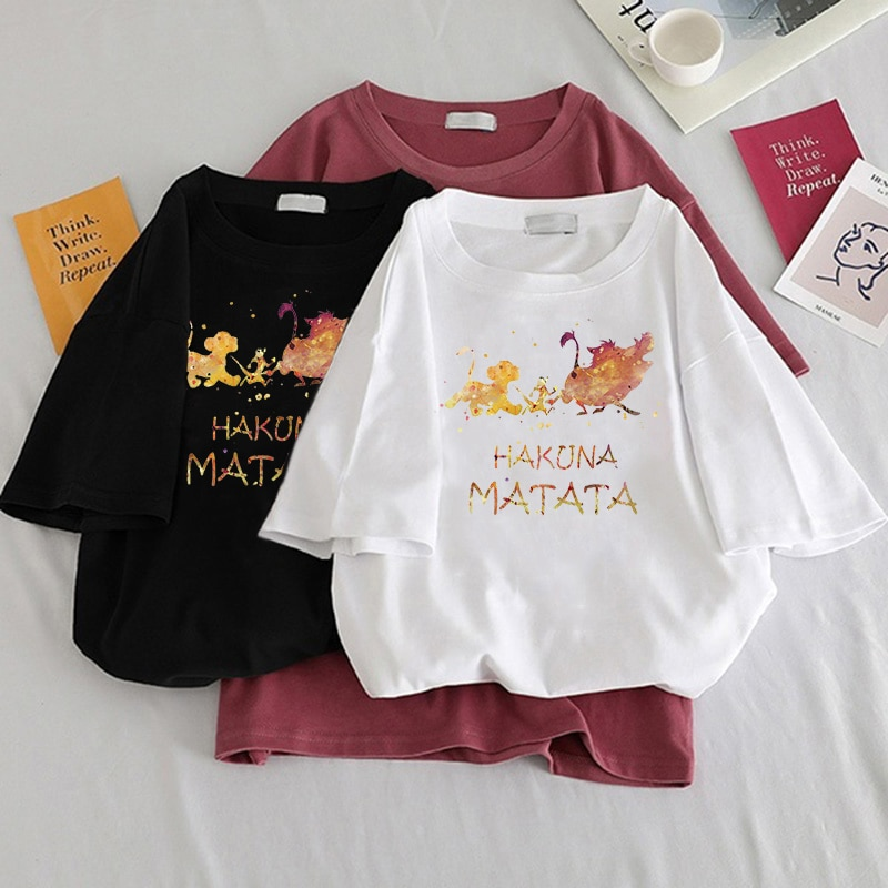 2020 verão camiseta feminina harajuku bonito simba dos desenhos animados leão rei impressão camiseta feminina animal menina topo coreano streetwear Camisetas    -